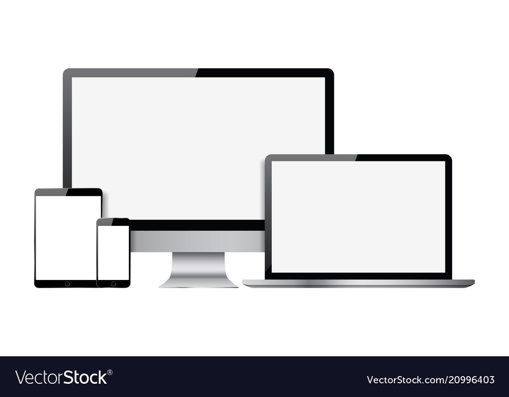Set of blank screens with computer monitor laptop