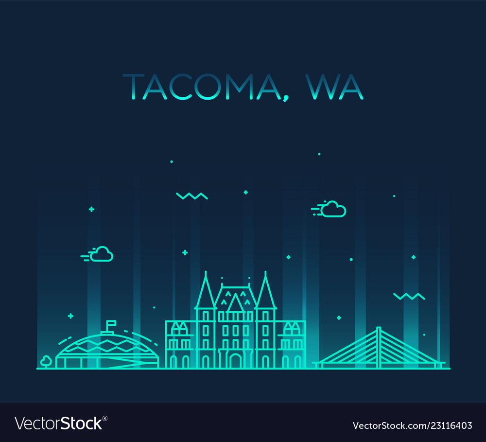 Tacoma skyline washington usa linear style