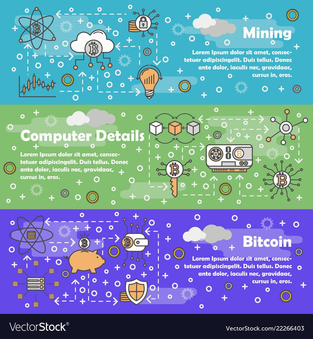 Thin line bitcoin web banner template set