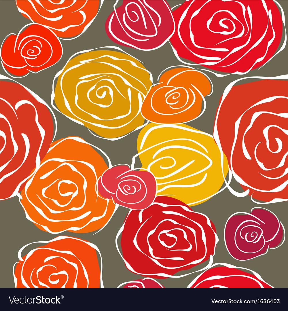 Vintage sketchy roses seamless background