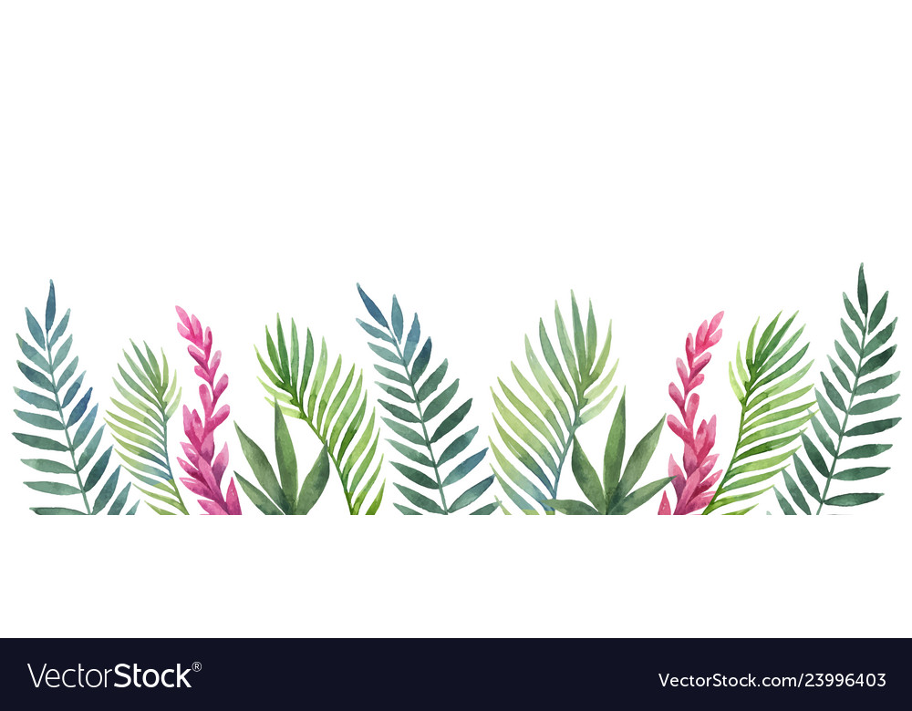 Watercolor banner tropical leaves and
