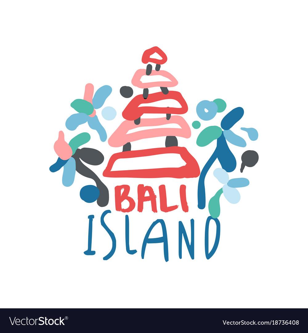 Bali Island Summer Vacation Colorful Travel Logo Vector Image