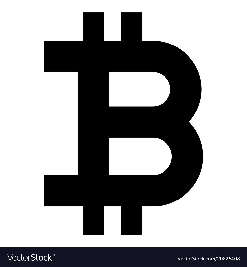 Bitcoin icon black color flat style simple image