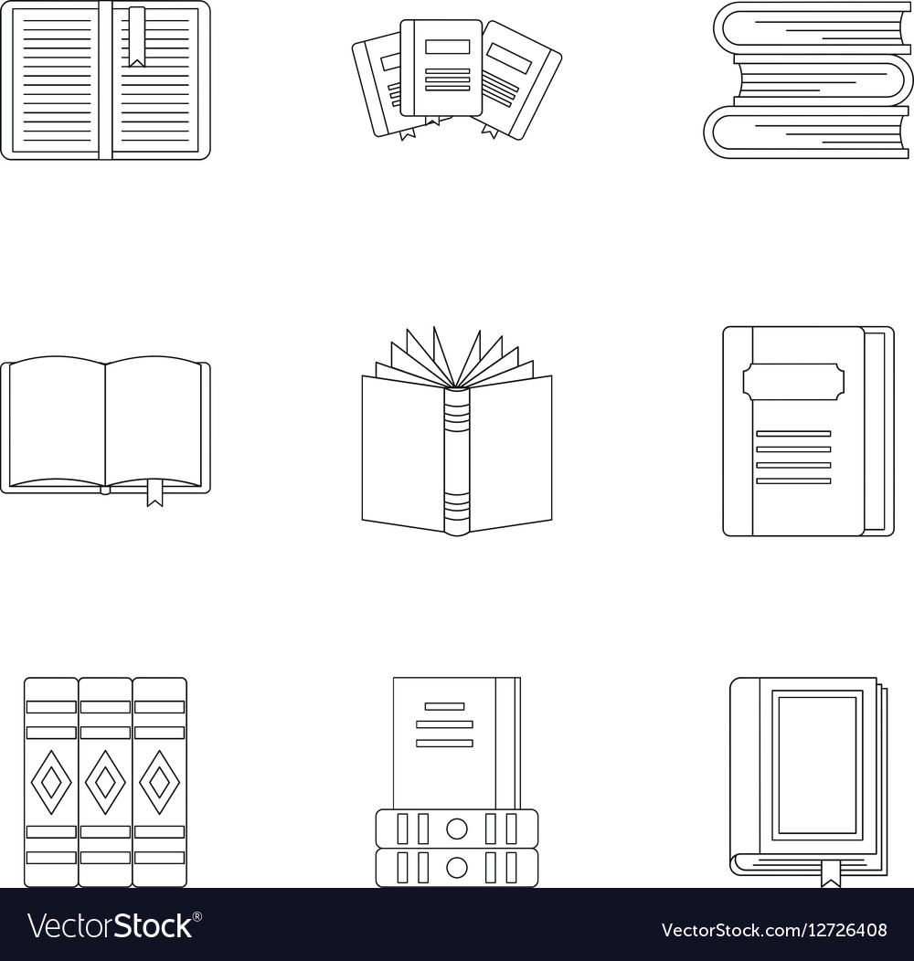 Books icons set outline style