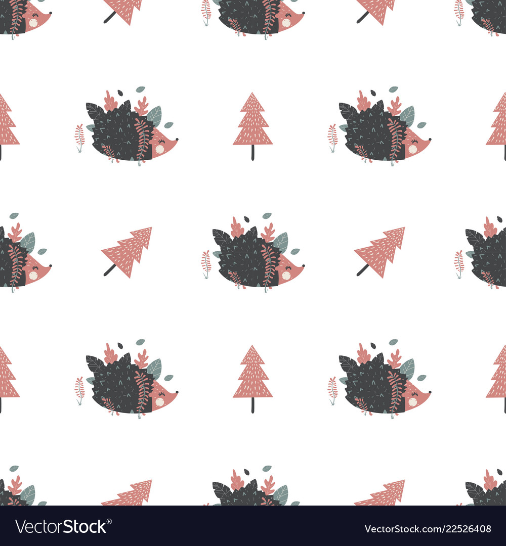 Christmas seamless pattern with hedgehogs great