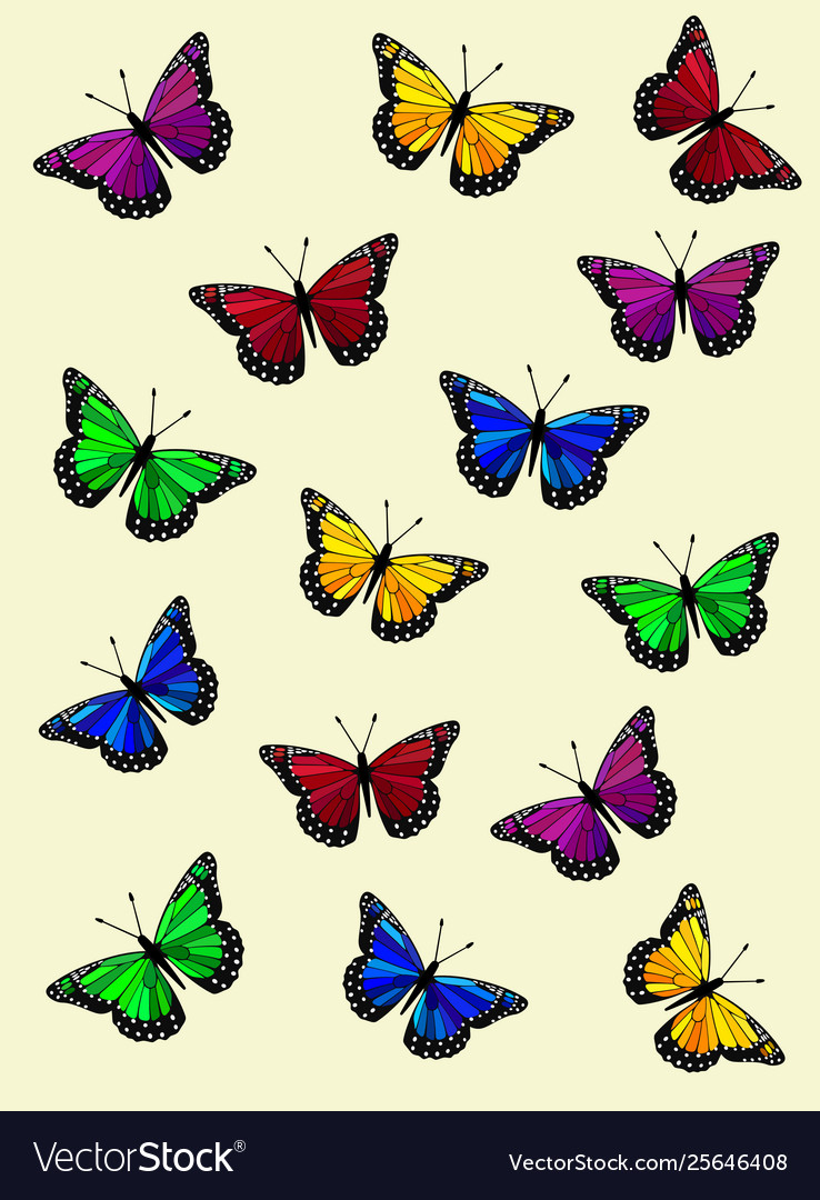 Colorful Rainbow Butterflies Wallpaper