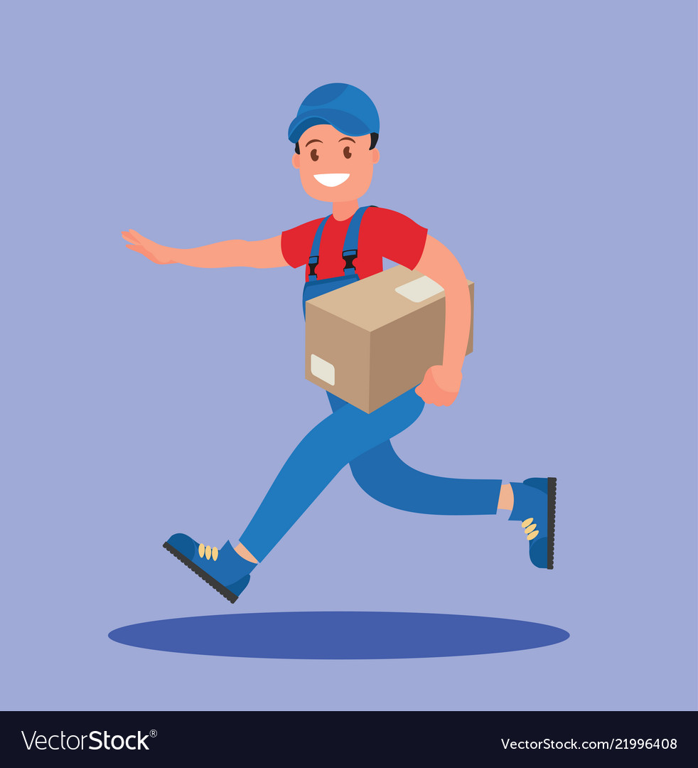 Courier runs with the parcel