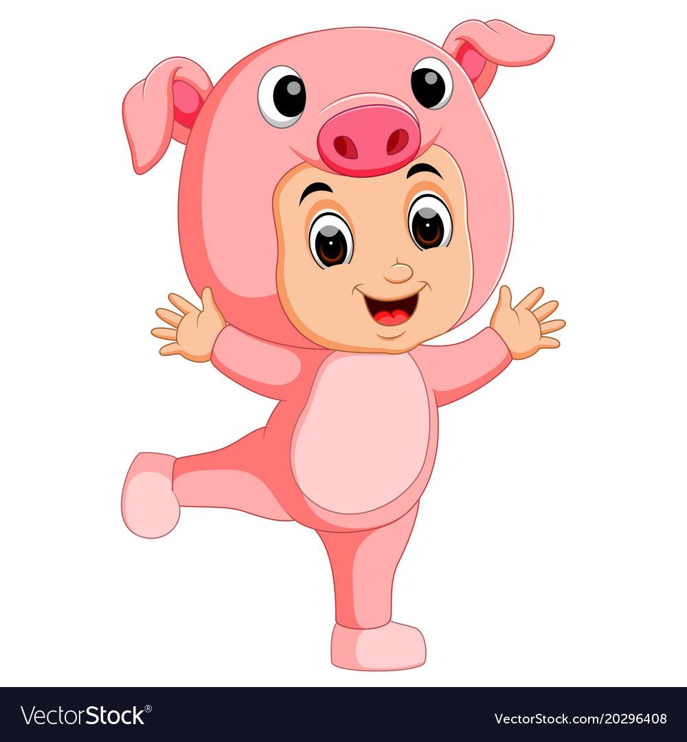 Cute boy cartoon wearing pig costume