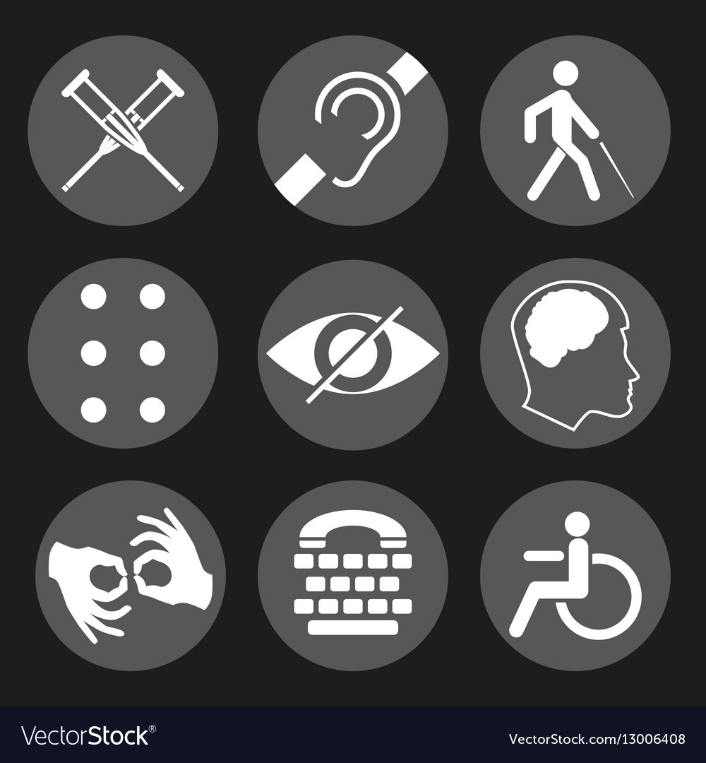 Disabled Signs With Deaf Dumb Mute Blind Vector Image