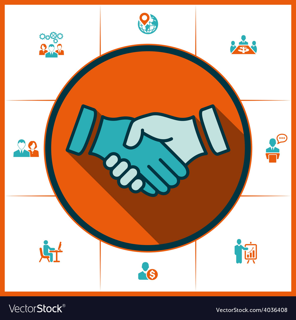 Flat icons handshake for business and finance