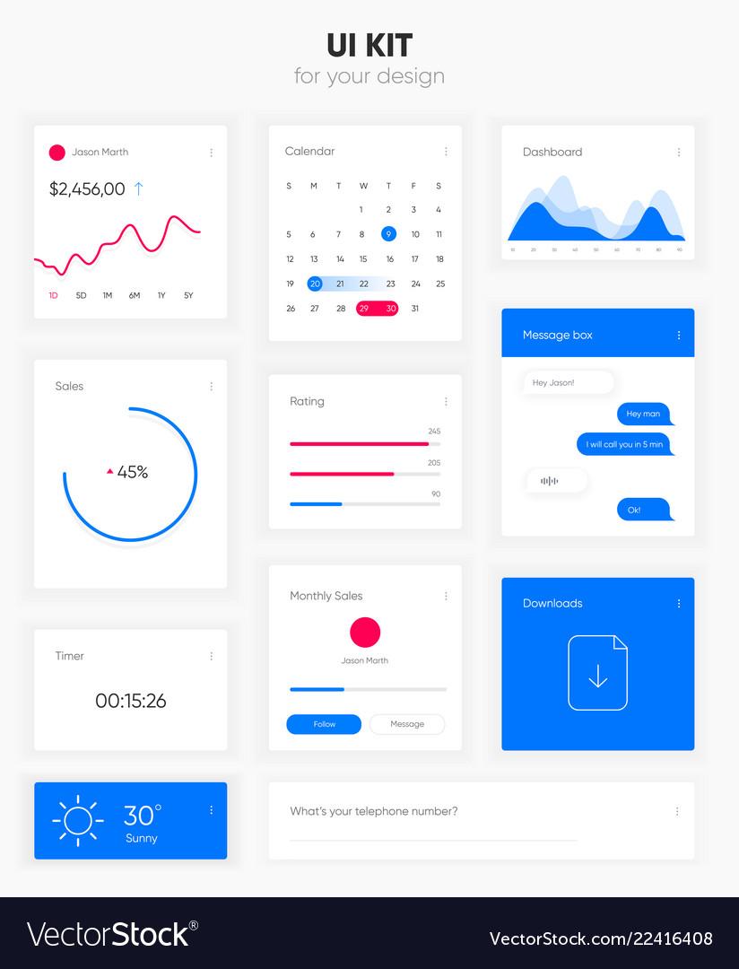 Flat user interface set for website