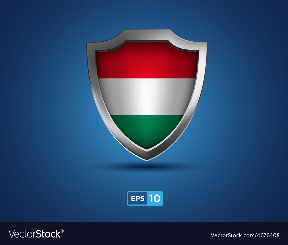 Hungary shield on blue background