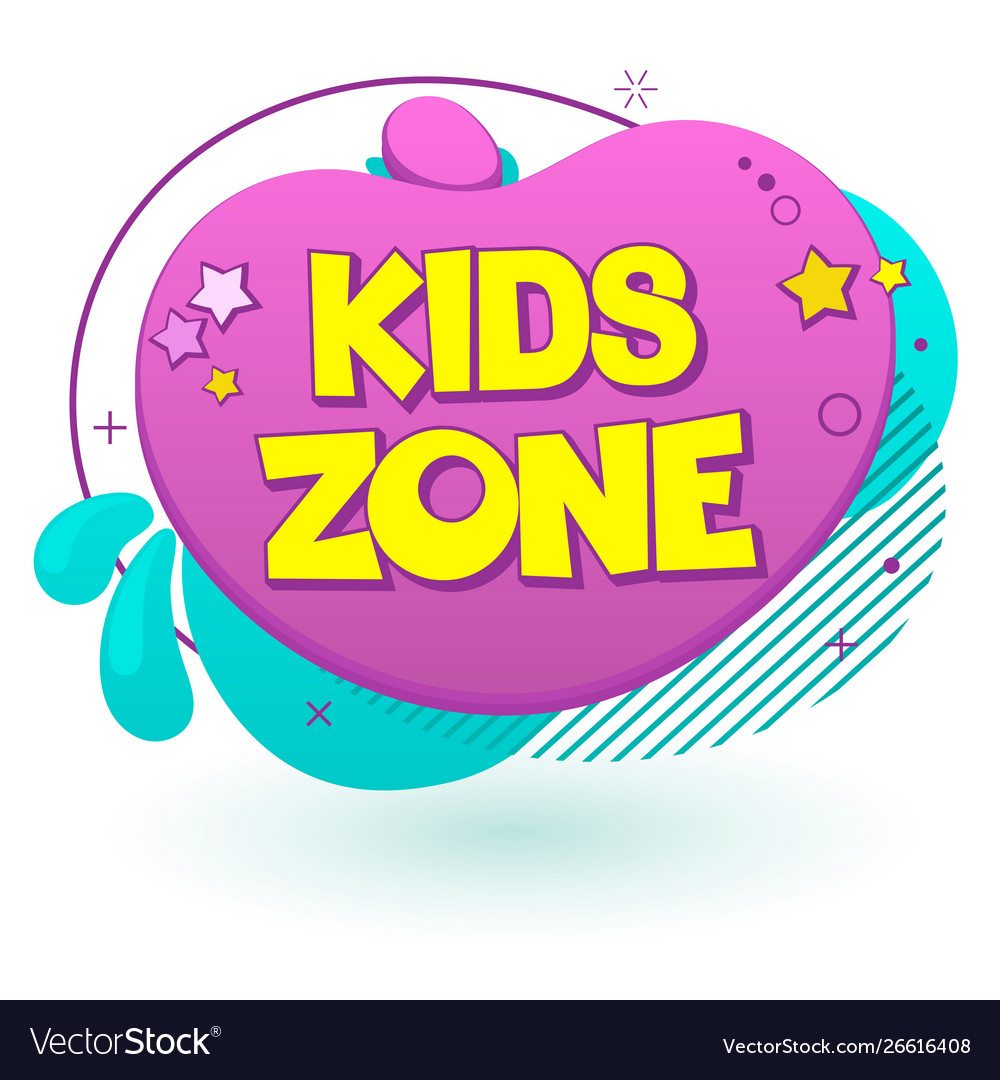Kids zone label text banner sign