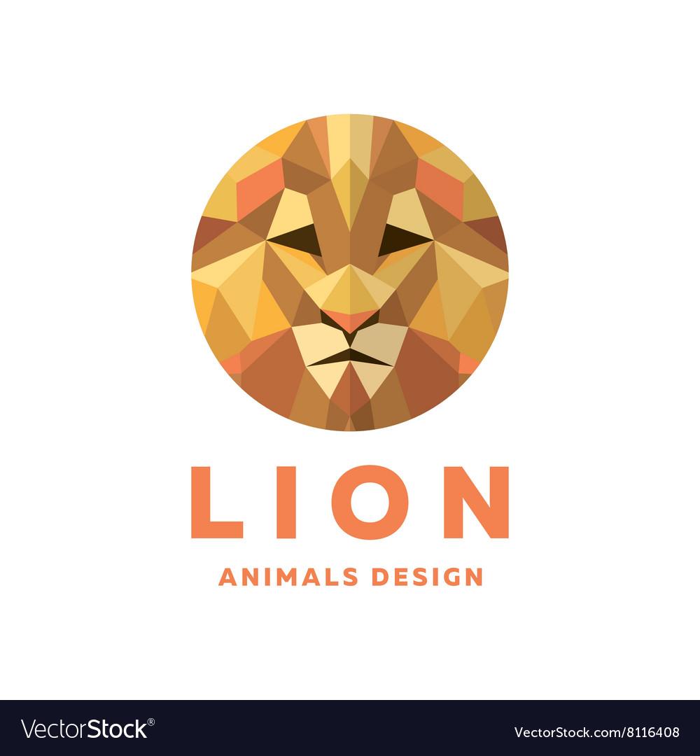 Lions Head into a Polygon design style Logos