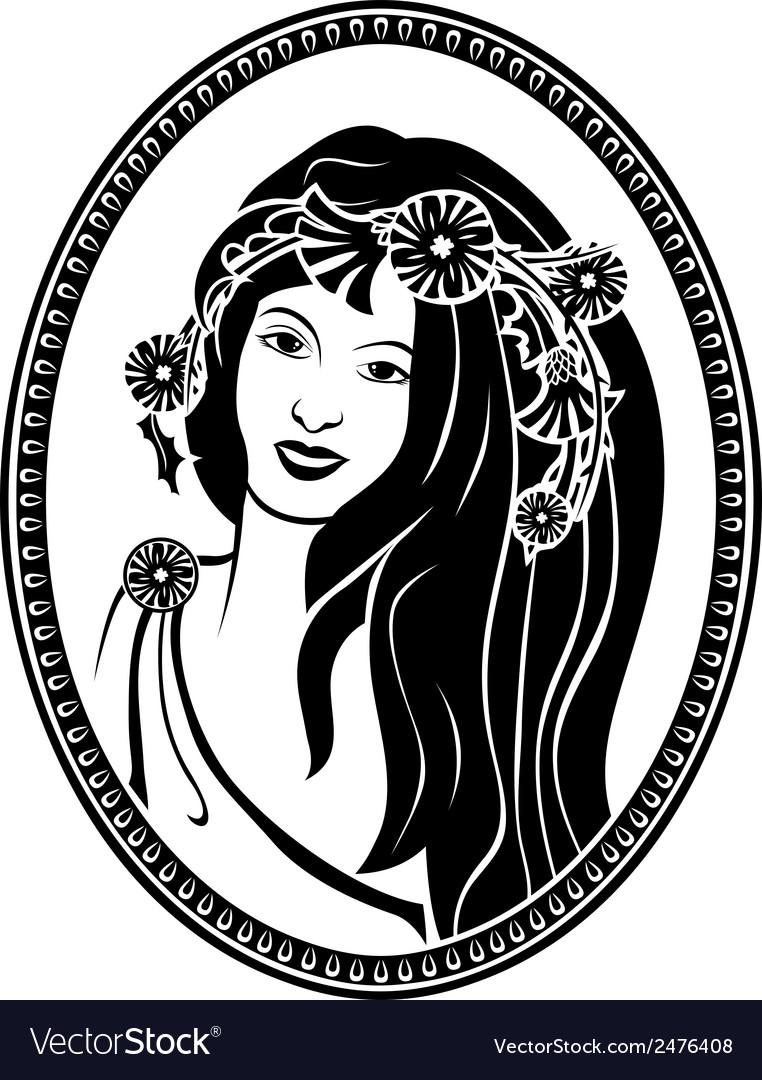 Medallion vignette portrait of a girl in a wreath