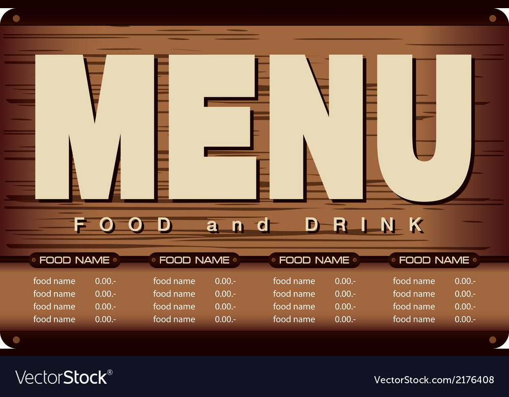 Menu Woode Beckground Design vector image