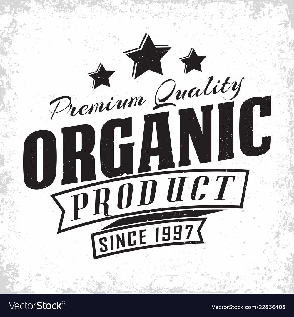 Organic product vintage label