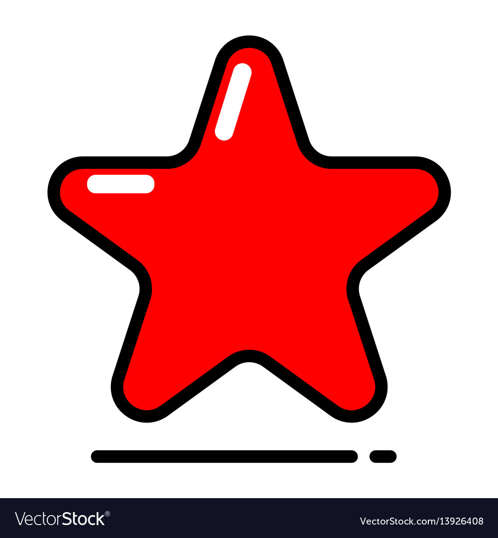 Red star icon favorite best rating award