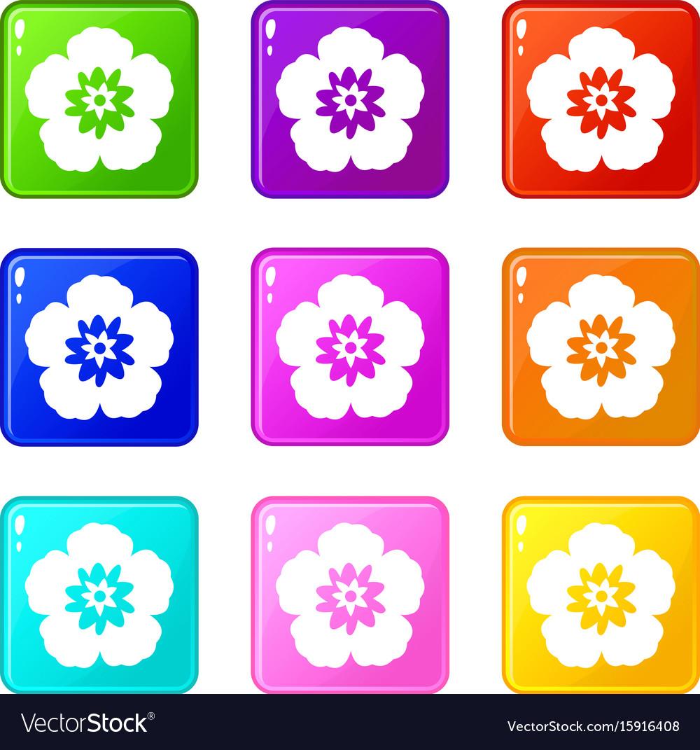 Rose of sharon korean flower icons 9 set vector image
