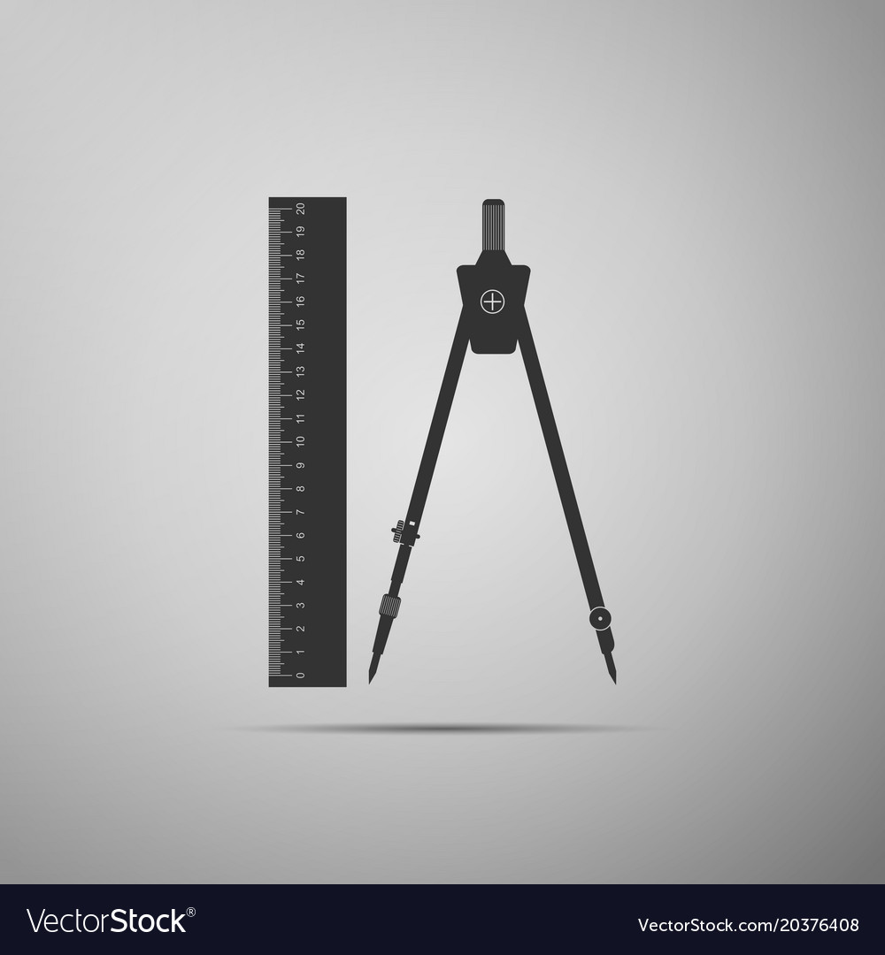 Ruler and compass icon geometric equipment