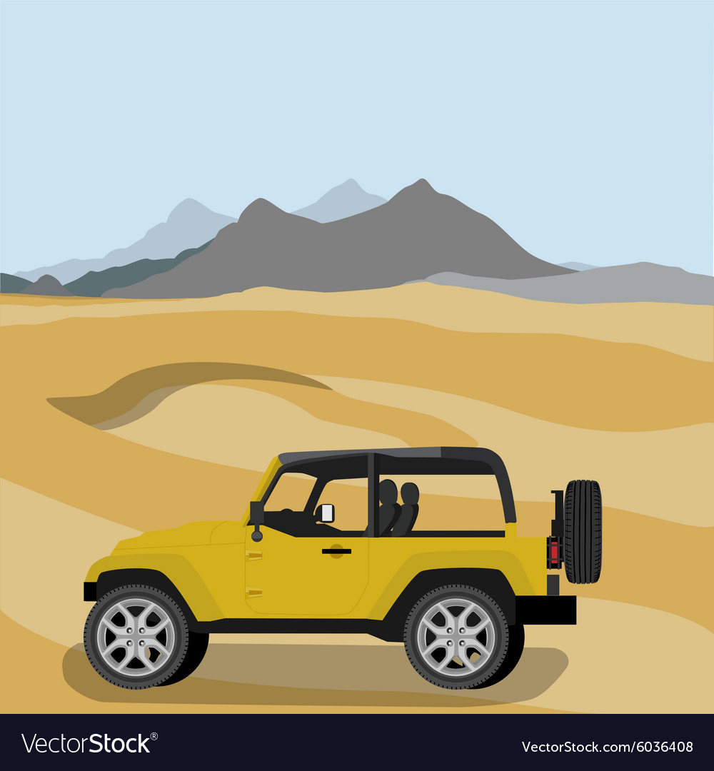 Safari car in desert