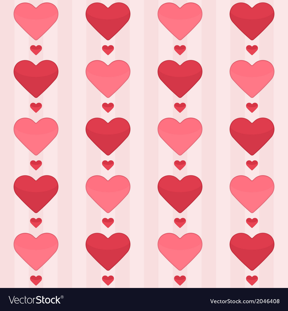 Seamless pattern with red hearts on a pink