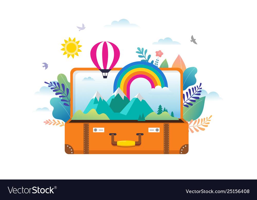 Travel tourism adventure scene with open