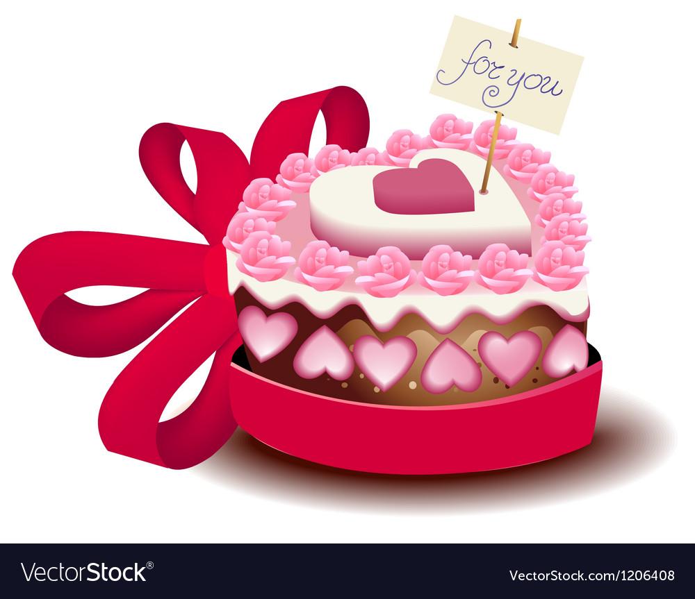 Sensational Valentine Cake Royalty Free Vector Image Vectorstock Birthday Cards Printable Inklcafe Filternl