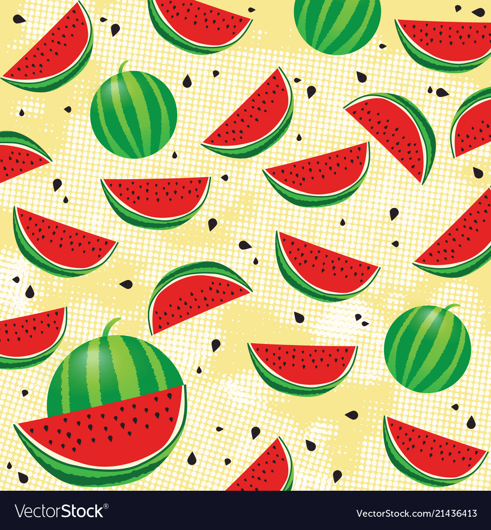 Background pattern with watermelon and seeds