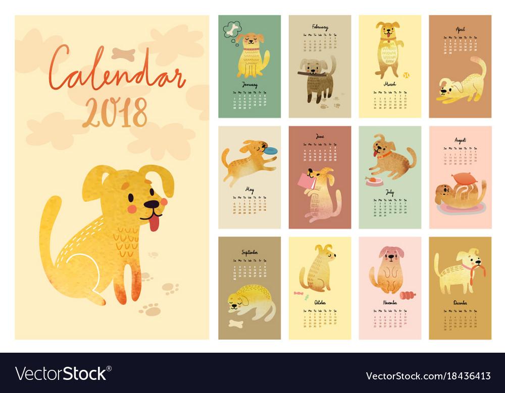 Calendar 2018 cute monthly calendar with