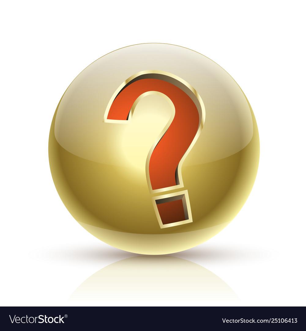 Faq golden ball sign question icon