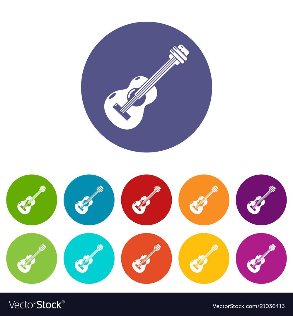 Guitar icons set color