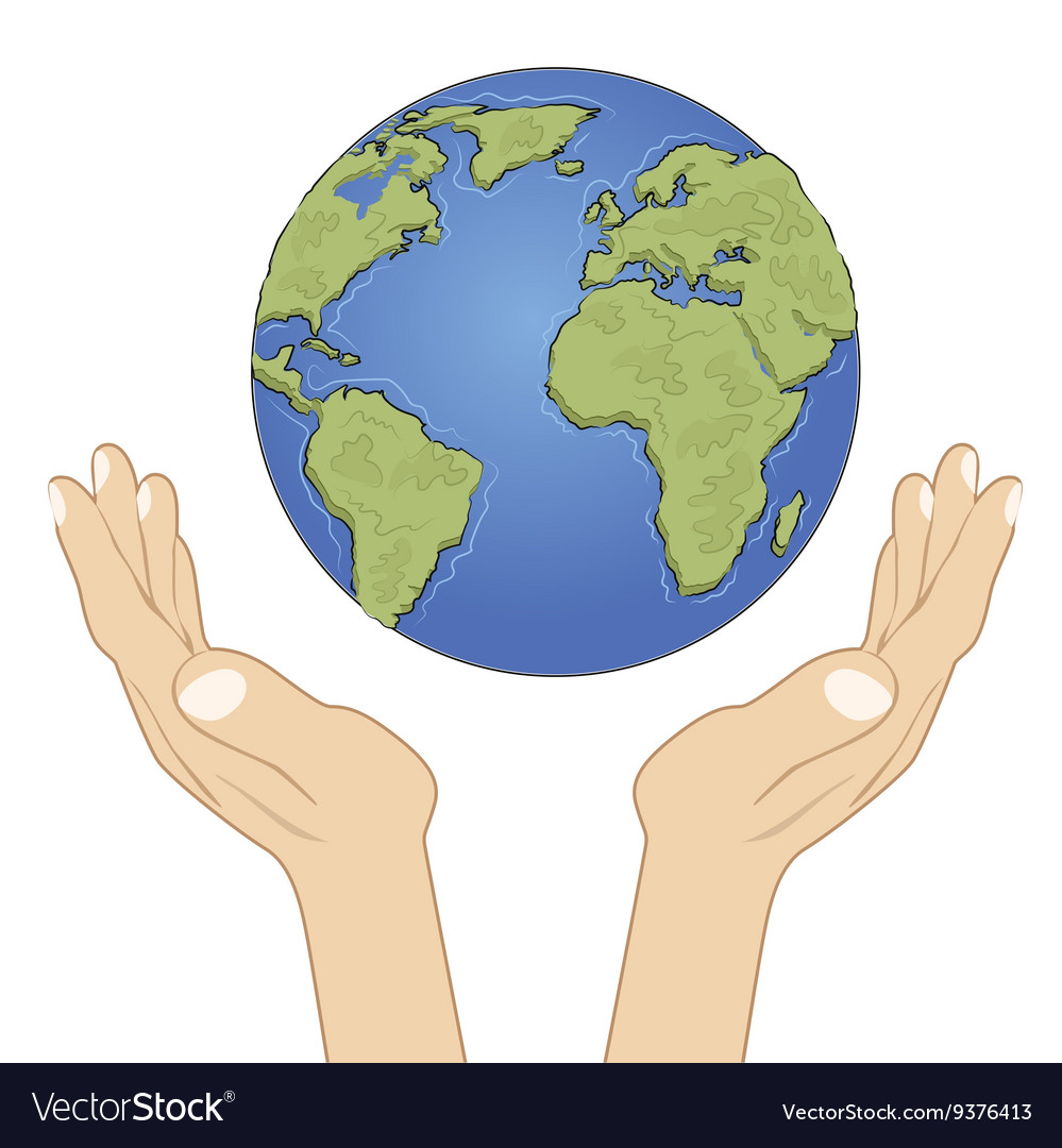 Hands holding earth globe with care