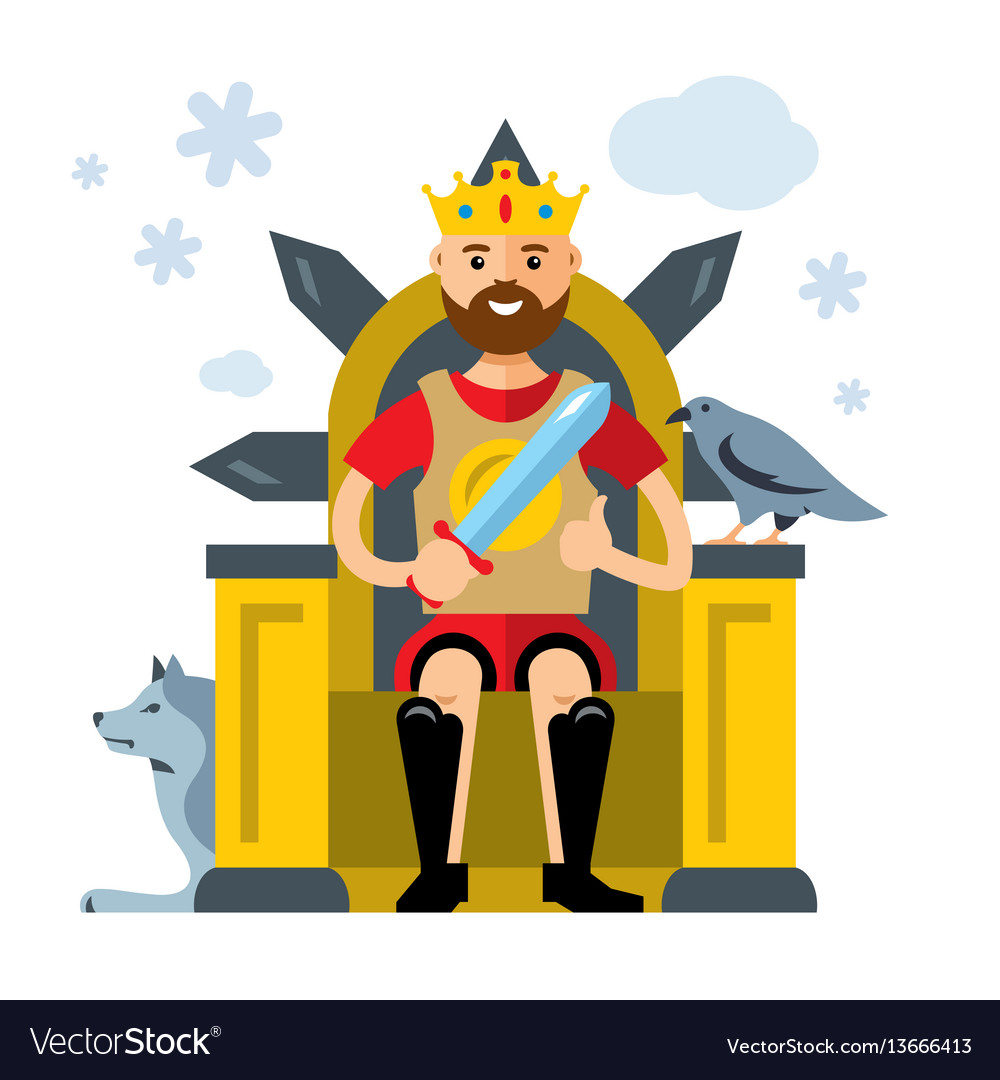 King on throne flat style colorful cartoon