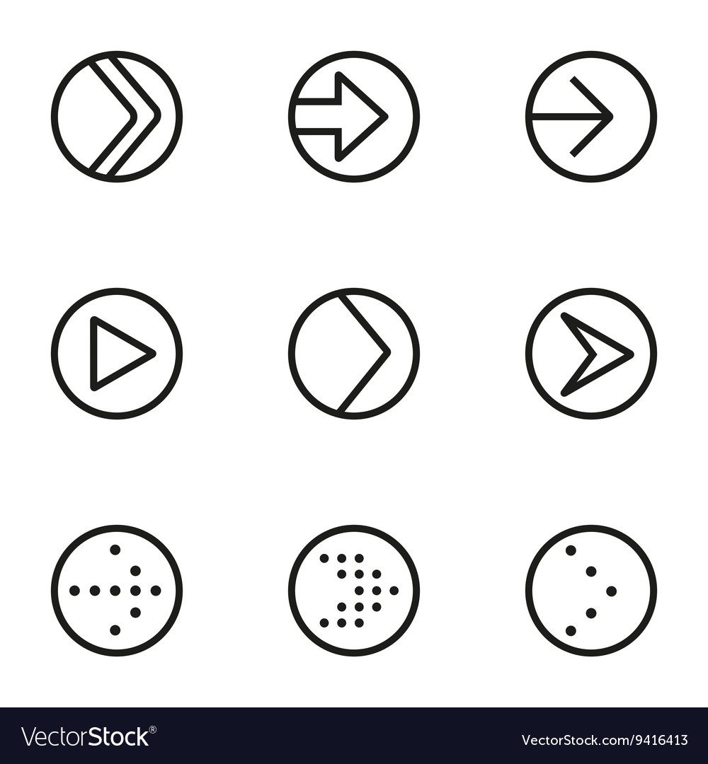 Line arrow circle icons set