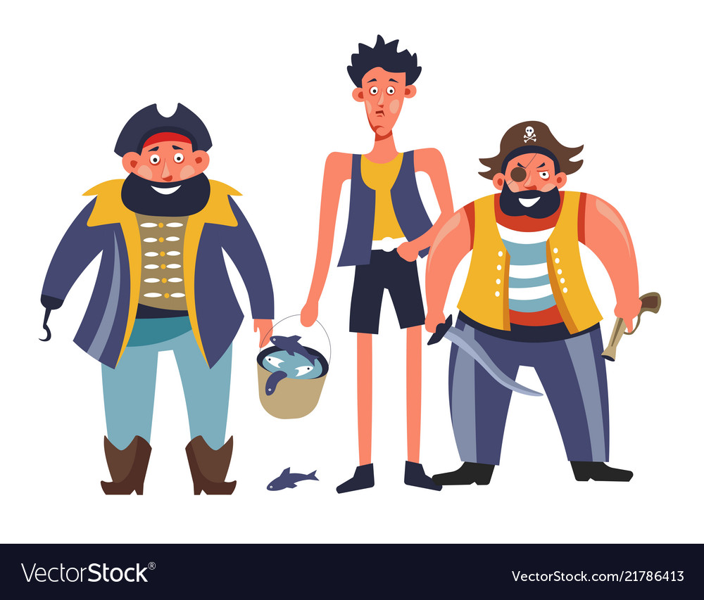 Pirates people with man holding bucket with fish