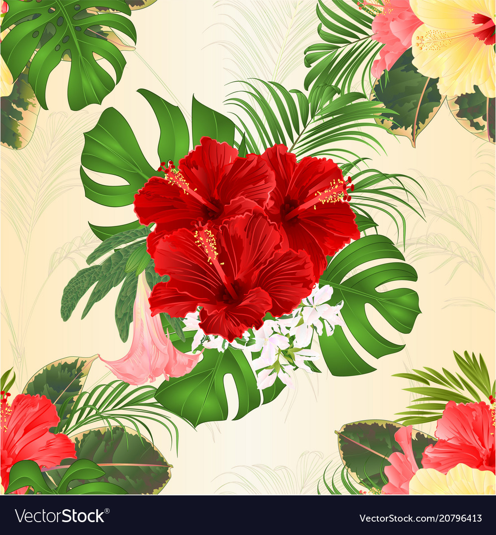 Seamless texture bouquet with tropical flowers