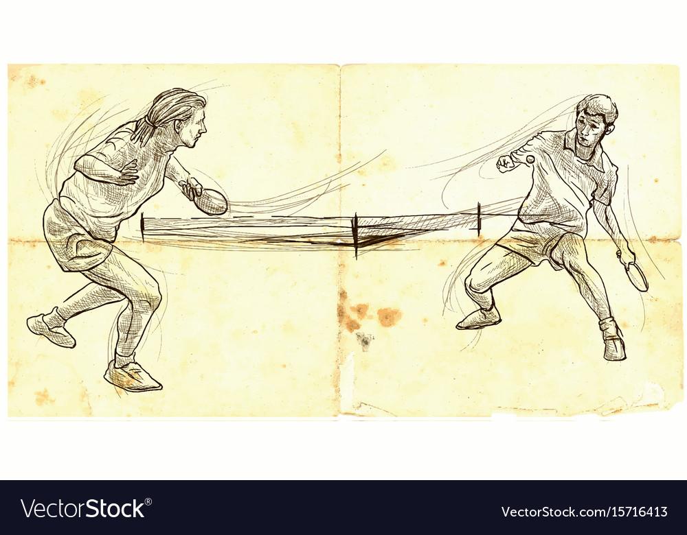 Sport table tennis ping-pong an hand drawn