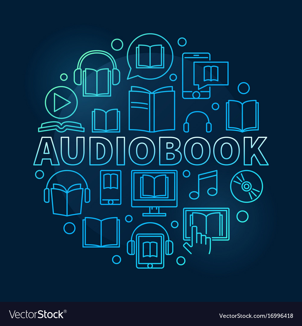 Audio book round colorful vector image