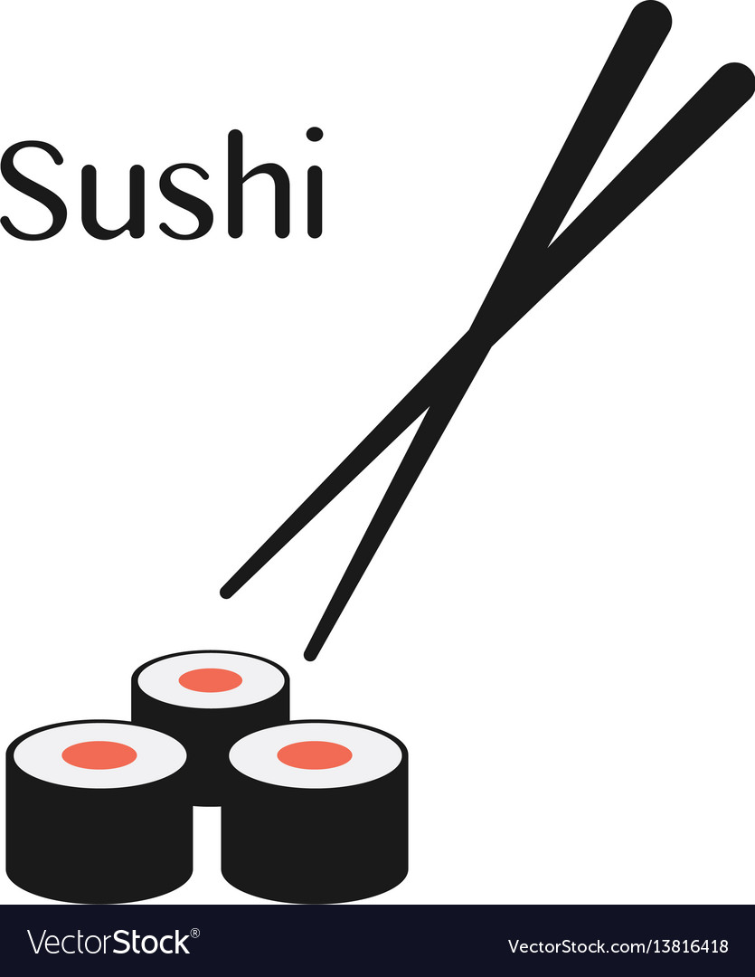 Chopsticks and sushi roll