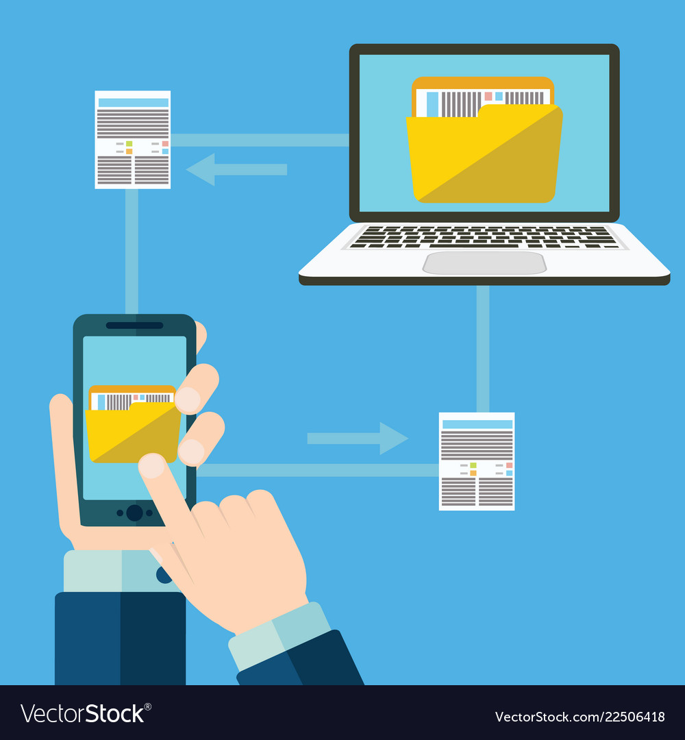 File transfer hand holding smartphone with folder