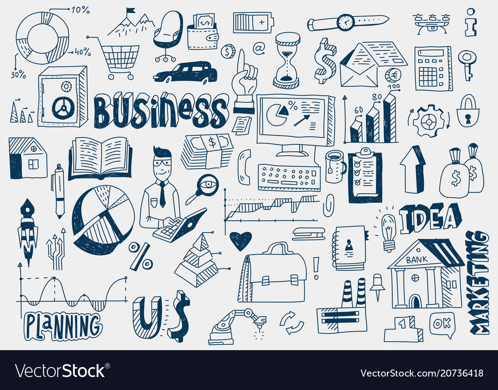 Hand draw doodle elements money charts graphs vector image