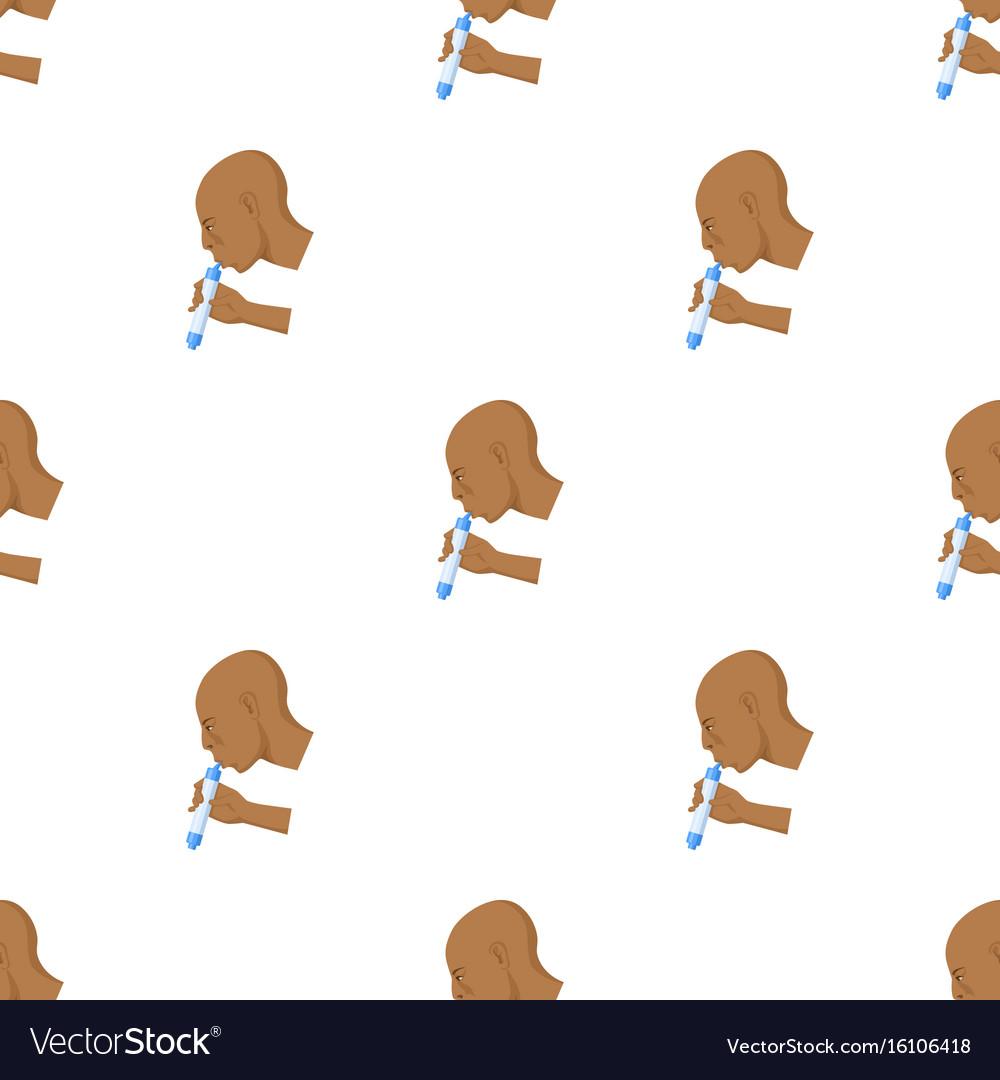 Man drink through compact filter icon in cartoon vector image