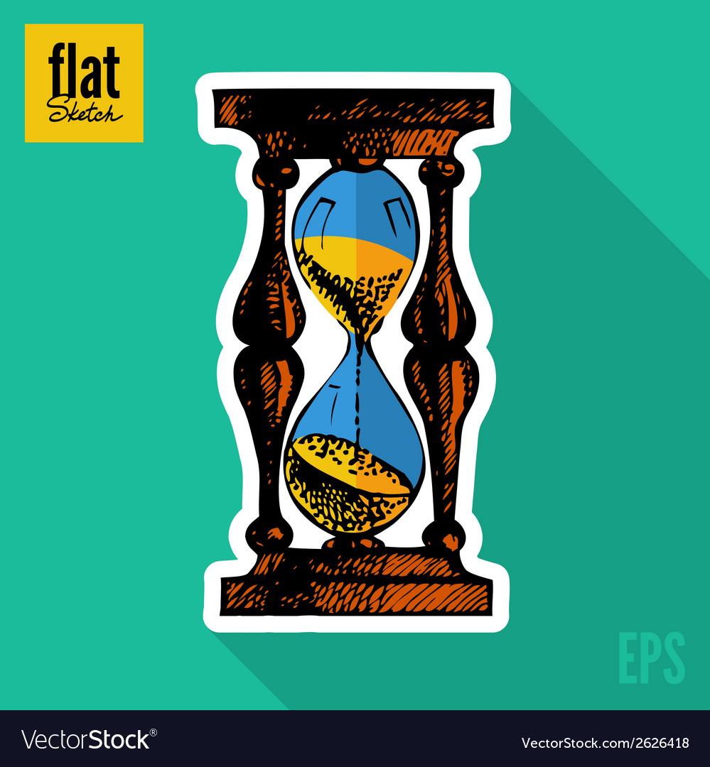Sketch style hand drawn clock flat icon