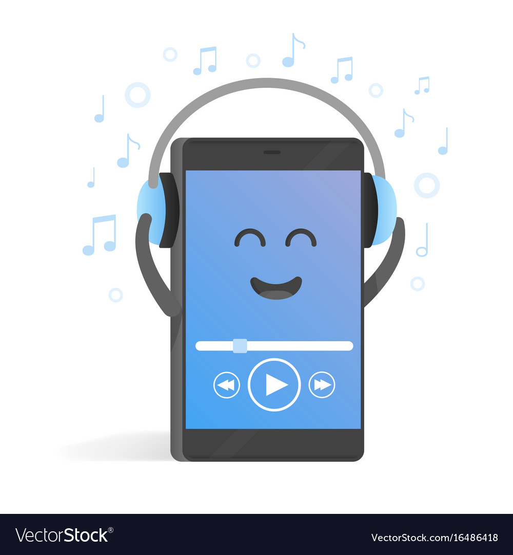 Smartphone concept of listening to music on vector image