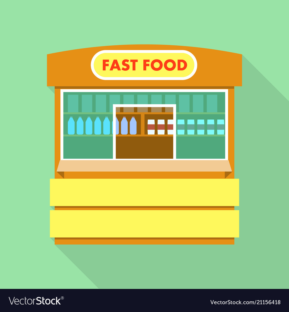 Street fast food shop icon flat style