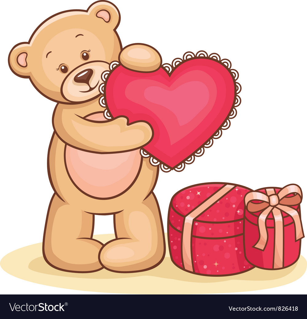 картинка мишка с сердечком с днем рождения разрешила своему
