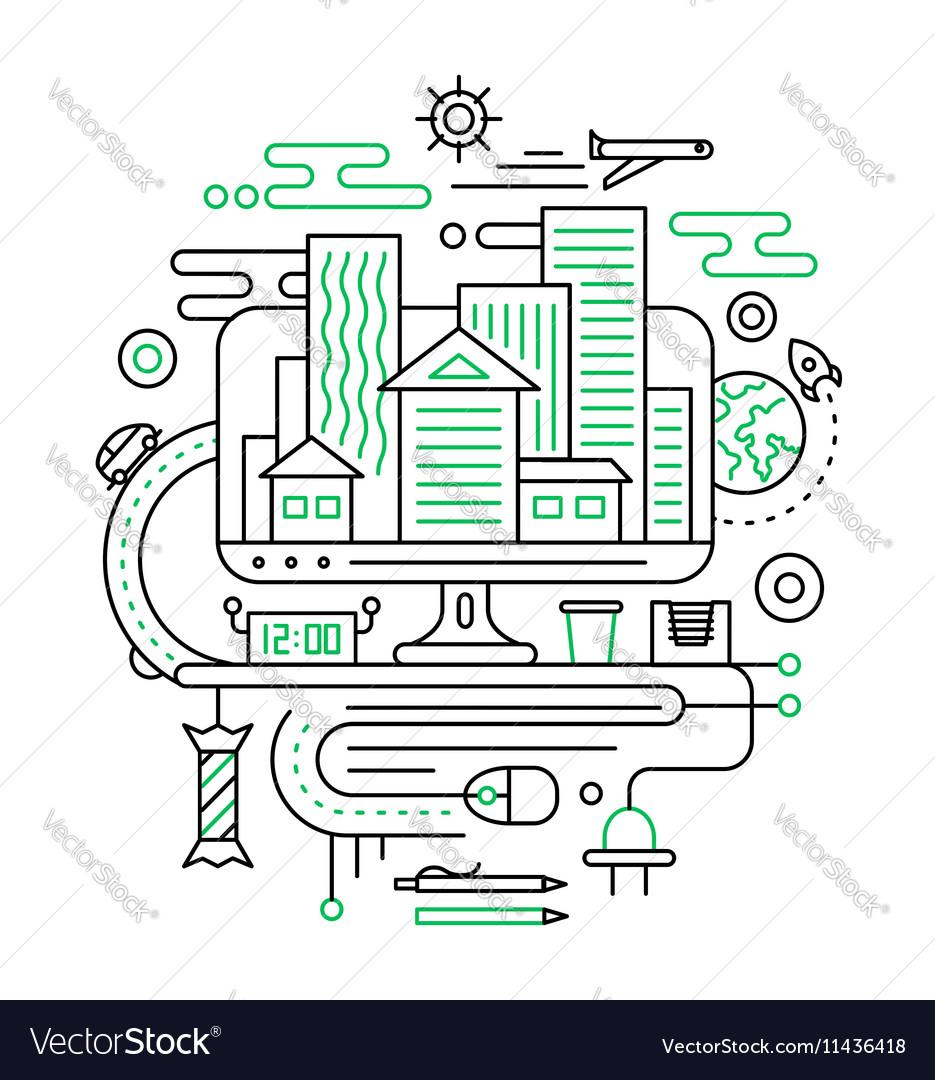 Travel journey planning - line design composition vector image