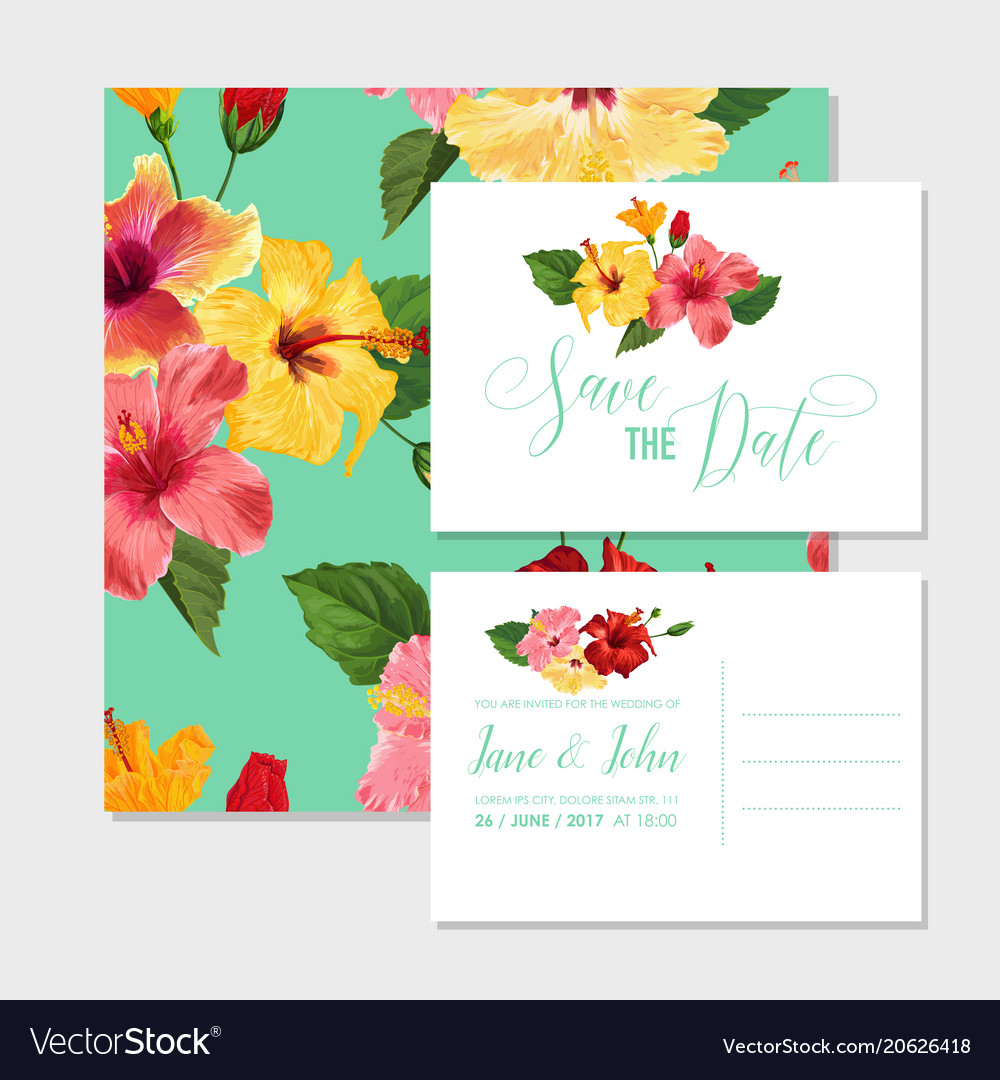 Wedding Invitation Template With Hibiscus Flowers Vector Image On VectorStock