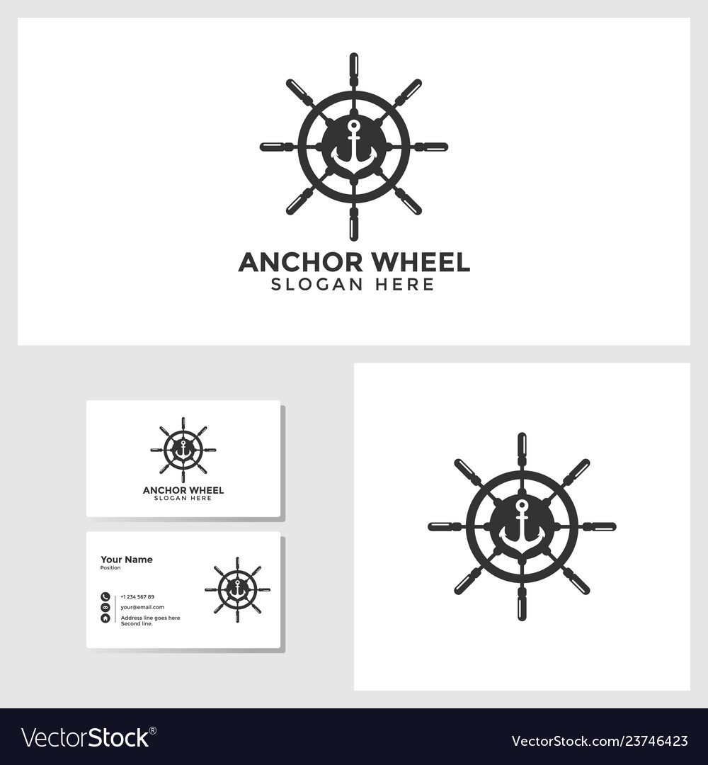 Anchor wheel logo template with business card